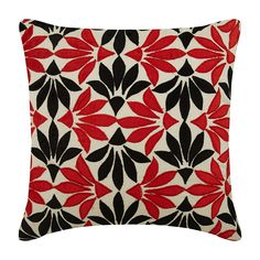 "Decorative Cushion Covers, 16""x 16"" Silk Pillowcase, Square Velvet Applique Floral Pillow Cover, Couch Cushion Cover - Amaryllis"
