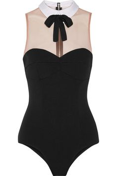 Bodysuits To Wear With High-Waisted Denim | StyleCaster | 15 Bodysuits Perfect For Your High-Waisted Denim and Tiny Miniskirts Fleur du Mal Playboy Bunny tulle-paneled ponte bodysuit, $295; at Net-a-Porter | http://stylecaster.com/best-bodysuits-to-buy-now/#ixzz3x5TxkSwu