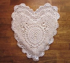 Mid Century Crocheted Doilies Heart Shaped by annmerrilldesigns, $9.00