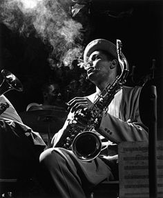 """Herman Leonard: """"It was early 1948 at the Royal Roost in New York. An afternoon rehearsal gave me a unique opportunity to photograph many giants of jazz with my trusty 4×5 Speed Graphic. What a great career! To do what you love and be entertained at the same time!"""""""