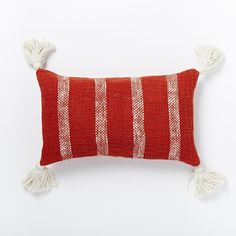 West Elm Tassel Stripe Pillow Cover - Cayenne (480 MXN) ❤ liked on Polyvore featuring home, home decor, tassels home decor and west elm
