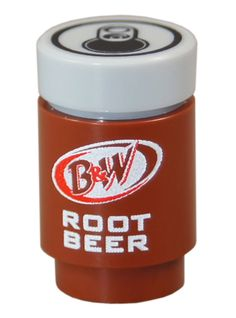 1 B&W Root Beer soda * drink can accessory for 2  Minifigures * new custom