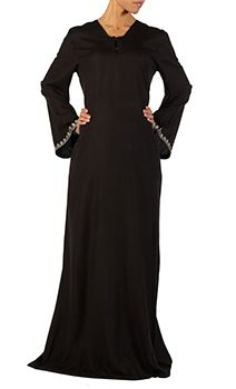 Sibaal Black rayon abaya with hidden loops on chest