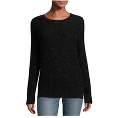 Rag & Bone Tamara Cashmere Crewneck Sweater ($395) ❤ liked on Polyvore featuring tops, sweaters, black, crewneck, knitwear, crew-neck tops, crew sweater, crew neck knitwear, crewneck sweaters and cashmere sweater