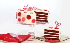 Valentines Day- Red Velvet Polka Dots  Available for shipping @carolinescakes.com  #polkadots #RedVelvet #Cake #Hearts #Red #Pink #Love #Valentine