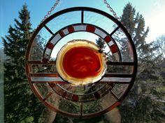 Agate and Stained Glass Window Hanging by 4oaksstudio on Etsy