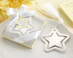 Star Metal Bookmark with White-Silk Tassel - Perfect for a Twinkle Twinkle Little Star Baby Shower