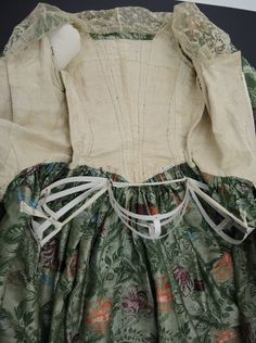 National Museum of Australia, Robe Anglaise, Brocade Silk – panniers, name tag and lace are 1920s additions