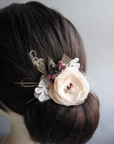 Rustic mini small bridal Hair Clip Beige ivory Burgundy flower Sand  burlap vintage inspired lace hairpiece with tulle fascinator. $34.00, via Etsy.