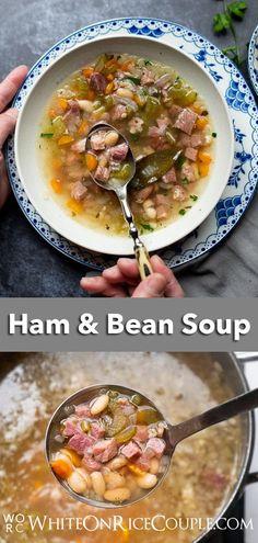 Ham And Bean Soup, Ham Soup, White Bean Soup, Baked Bean Recipes, Bean Soup Recipes, Quick Recipes, Quick Healthy Meals, Easy Meals, White Beans And Ham