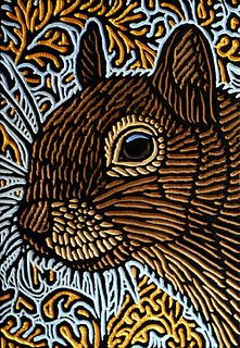 Squirrel by Lisa Brawn - these are painted woodcuts - I think she cuts the wood and then paints on it... Comes out pretty and photographs well!