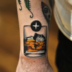 Whiskey glass tattoo by David Cote