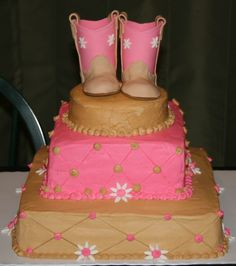 Baby Boots - Baby shower cakes for neighbor's friend, with baby cowgirl boots