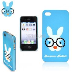 $4.70 New Lovely Cute Glasses Rabbit Plastic Hard Cover Case Skin Protector for Apple iPhone 4 4S Blue