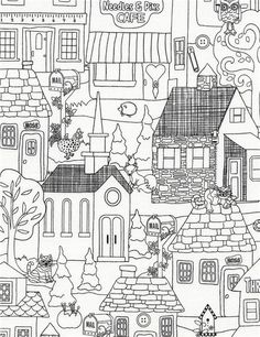 white black outline building house fabric by Timeless Treasures  3