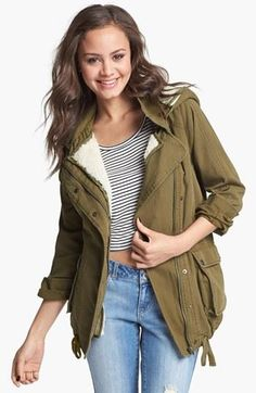 Cozy for that walk in the park! Faux Shearling Lined Olive Jacket