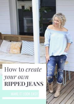 Do you want the ripped jean look without paying for them? We can help you do just that with this ripped jean tutorial. We will show you how to cut rips into your jeans in a way that looks like they were there to begin with. You'll definitely want to save this DIY ripped jeans post to your fashion board so you can find it later.