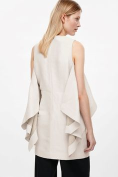 COS image 3 of Layered linen dress in Ivory