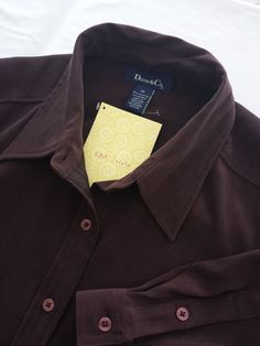 Denim & Co. 3X Women's Button Down Shirt Brown Long Sleeves Poly Spandex  #DenimCo #ButtonDownShirt #Casual