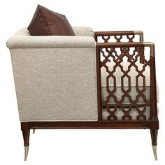 Caracole Lattice Entertain You Modern Classic Beige Upholstered Brown Wood Lattice Arm Chair Caracole Furniture, Diy Furniture Couch, Diy Furniture Plans, Living Furniture, Coastal Furniture, Chair And Ottoman, Upholstered Chairs, Drawing Furniture, Beige Living Rooms