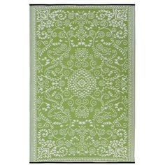 Bring visual appeal to your patio or define space in the living room with this woven rug, showcasing a lovely floral motif in lime green.  ...
