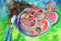 El ángel del color | The angel of color | Acrílico sobre lienzo | Acrylic on canvas by Pili Tejedo 60 x 90 cm