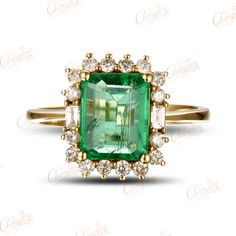 18k Gold Natural 2.47ctw Colombian Emerald Diamond Engagement Ring Gorgeous-in Rings from Jewelry on Aliexpress.com | Alibaba Group