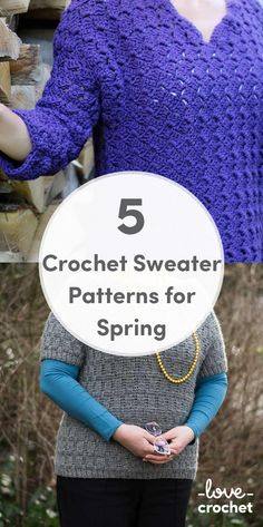 Five crochet sweater patterns for spring. Download the patterns at LoveCrochet.com