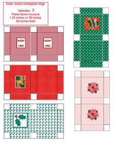 Christmas mini printable rectangular boxes - one of four pages