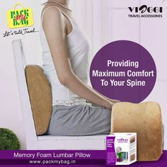 Memory Foam Lumbar pillows at#packmybagare specially crafted to provide maximum comfort & support to your back. Order now -http://bit.ly/lumbar_pillow