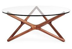 Star Glass Coffee Table, Walnut - Coffee Tables - Living Room - Furniture One Kings Lane Walnut Coffee Table, Glass Top Coffee Table, Round Coffee Table, Modern Coffee Tables, Find Furniture, Table Furniture, Table Legs, A Table, Wooden Stars