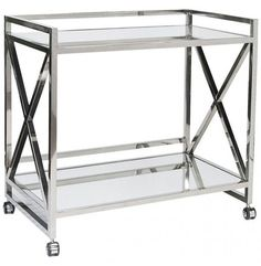 Gerard X Bar Cart, Silver - Furniture - Accent Tables - Console Tables