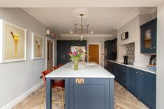 Bespoke kitchens expertly crafted, designed and handmade in Kent from Herringbone Kitchens. Visit our kitchen studio in Canterbury. Long Narrow Kitchen, Open Plan Kitchen Living Room, Kitchen Dining Living, Navy Kitchen, Dining Room, Shaker Kitchen, Kitchen Redo, New Kitchen Designs, Kitchen Room Design