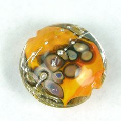 Encased Lampwork Bead Handmade Glass Focal Apricot Clear Raku Silver   Covergirlbeads - Jewelry on ArtFire