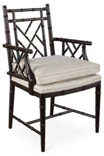 Chine Chippendale Armchair, Black/Oyster