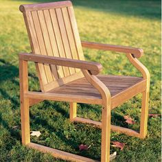 Nantucket- Dining arm chair without cushion. Teak, contemporary, gently curving back with angled seat designed for comfort.  #style #patio #design #furniture #teak