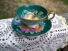 Vintage Royal Sealy tea cup fruit green gold. $10.00, via Etsy.