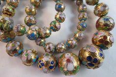 Vintage Strand Cloisonne Bead Graduated Necklace