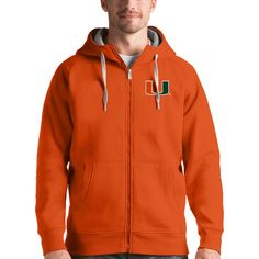 Miami Hurricanes Antigua Victory Full-Zip Hoodie - Orange