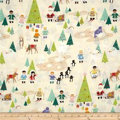 Christmas Time Silly Chilly Christmas Tea from @fabricdotcom  Designed by DeLeon Design Group for Alexander Henry, this cotton print is perfect for quilting, apparel and home decor accents.  Colors include cream, white, black, green, blue, purple, orange, yellow, brown, red and tan.