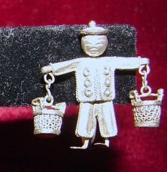 Vintage Asian Water Carrier Earrings Silver by NopalitoVintageMore, $200.00