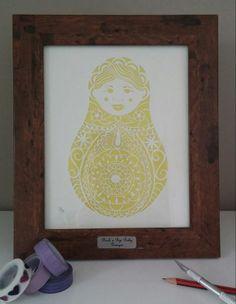Anya the Little Russian Doll Original Papercut in Ivory & Sunshine Yellow £85.00