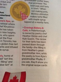 Our local Cravings Bakery & Cafe made the Living list for top buttertart destinations in Ontario! Tart Filling, Good News Stories, Bakery Cafe, Ontario, Cravings, Destinations, Tours, How To Make, Travel Destinations