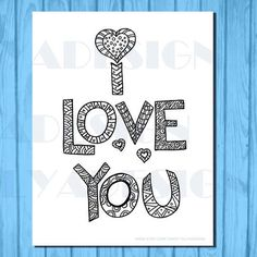 Adult coloring page I love you doodle instant by olyadesign