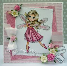 Handmade birthday card featuring lots of pink, a fairy rubber stamp from Saturated Canary and pretty flowers