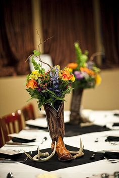 Really like the boots, antlers and flower arrangements. Wildflower Centerpieces, Wedding Centerpieces, Miss Texas, Civic Theatre, Missouri City, Down South, Cowgirl Style, Rehearsal Dinners, Wedding Planning