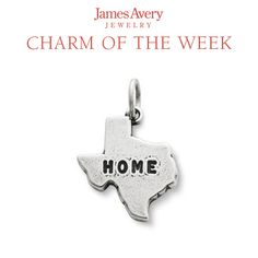 """Whether you are near or far from the Lone Star State, keep the feeling of home with you always with our Texas is """"Home"""" Charm. #JamesAvery India Jewelry, Jewelry Shop, Jewelry Stores, Jewelry Accessories, Pandora Bracelets, Pandora Jewelry, Charm Jewelry, Texas Jewelry, Avery Jewelry"""