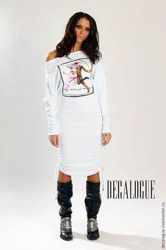 Платья ручной работы. Ярмарка Мастеров - ручная работа. Купить Платье средней длины с изображением. Handmade. Белый, женское платье