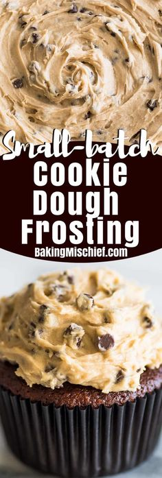 This Small-batch Cookie Dough Frosting tastes just like an extra creamy batch of cookie dough that you happen to get to spread over a cupcake. | #frosting | #cookiedough | #smallbatch |