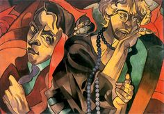 Witkiewicz, Stanislaw Ignacy - 1920 Two Heads (Museum of Art, Lodz, Poland) Alicante, Agenda Cultural, Theatre Of The Absurd, Oil Painting Gallery, Two Heads, Cat Posters, Art Database, Art Reproductions, Picasso